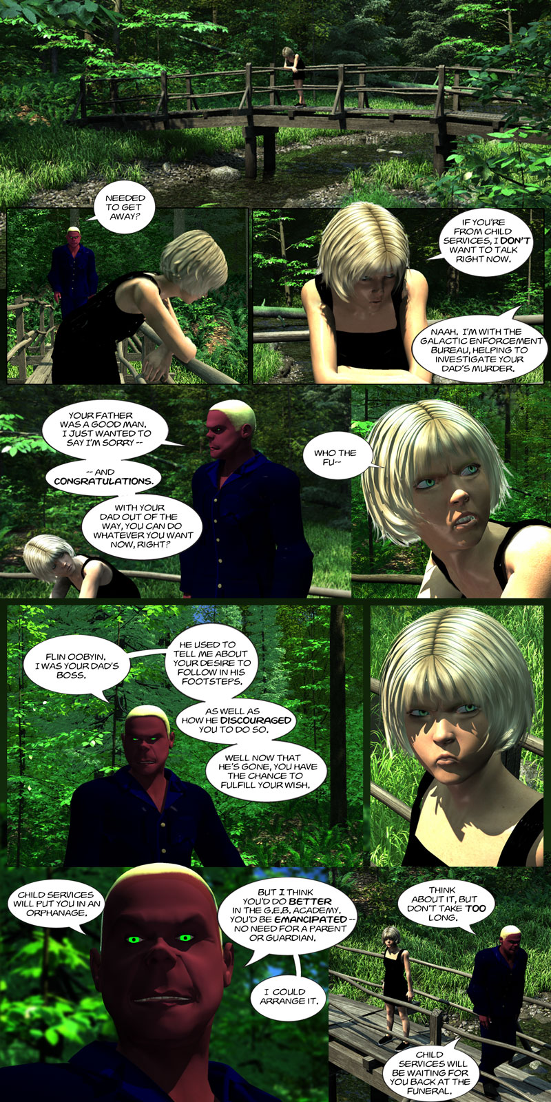 Chapter 1, page 16 – Flin invites Tirin to join the Galactic Enforcement Bureau