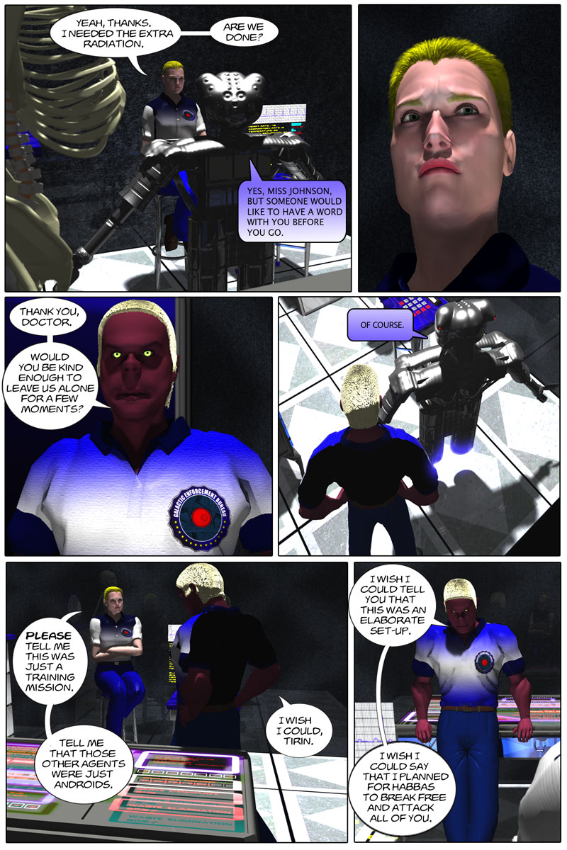 Chapter 1, page 28 – botched mission debrief with Flin and Tirin