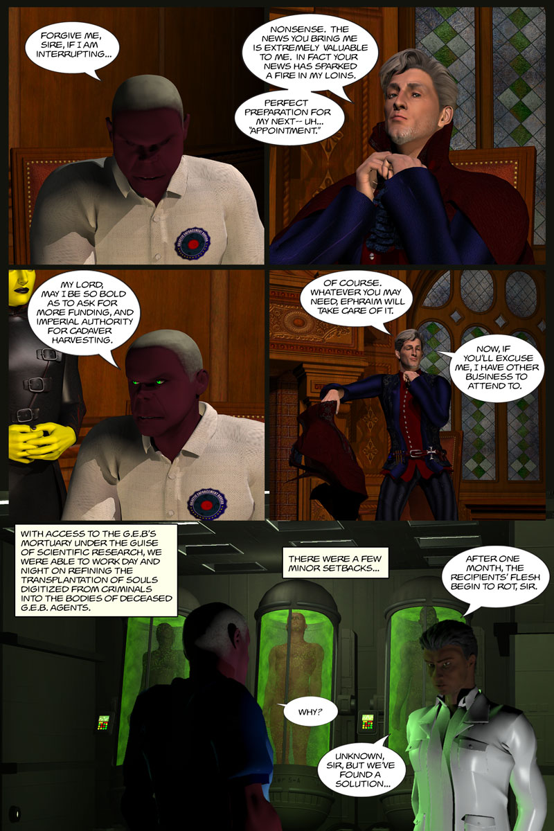 Chapter 5, page 17 – Flin explains soul transplantation into cadavers