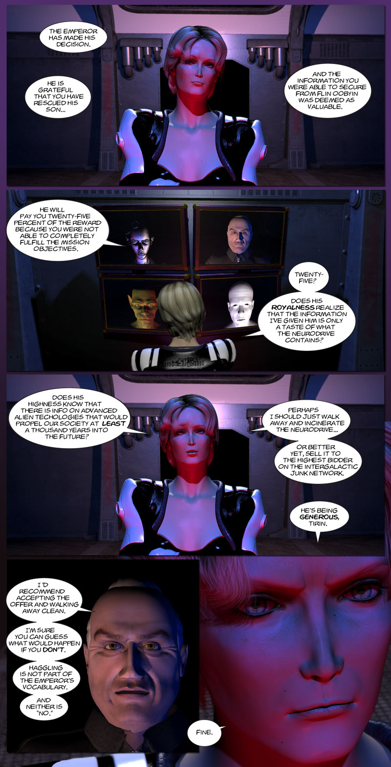 Chapter 5, page 39 – Tirin gets ripped off by the Emperor