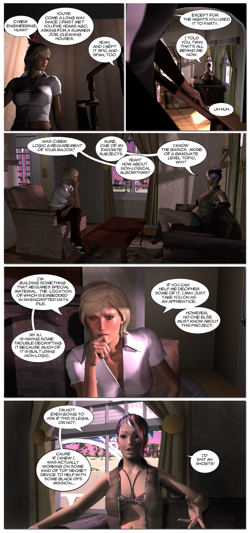 Chapter 6, page 10 – Tirin recruits Wendy, cyberengineer extraordinaire