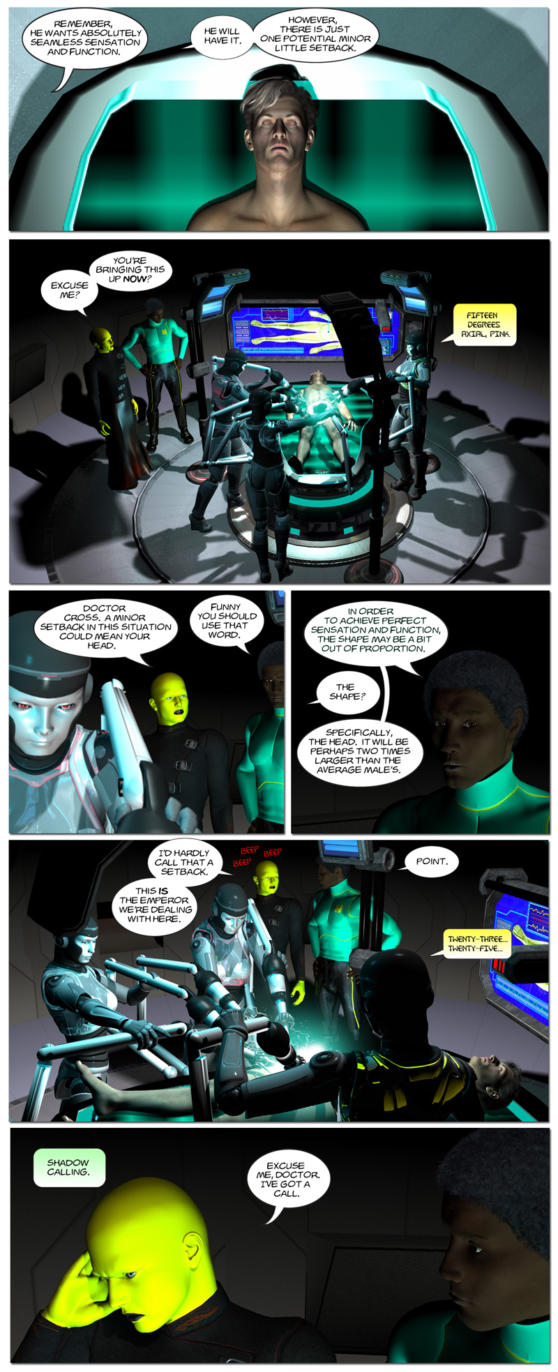 Chapter 6, page 12 – The Emperor has reconstruction surgery