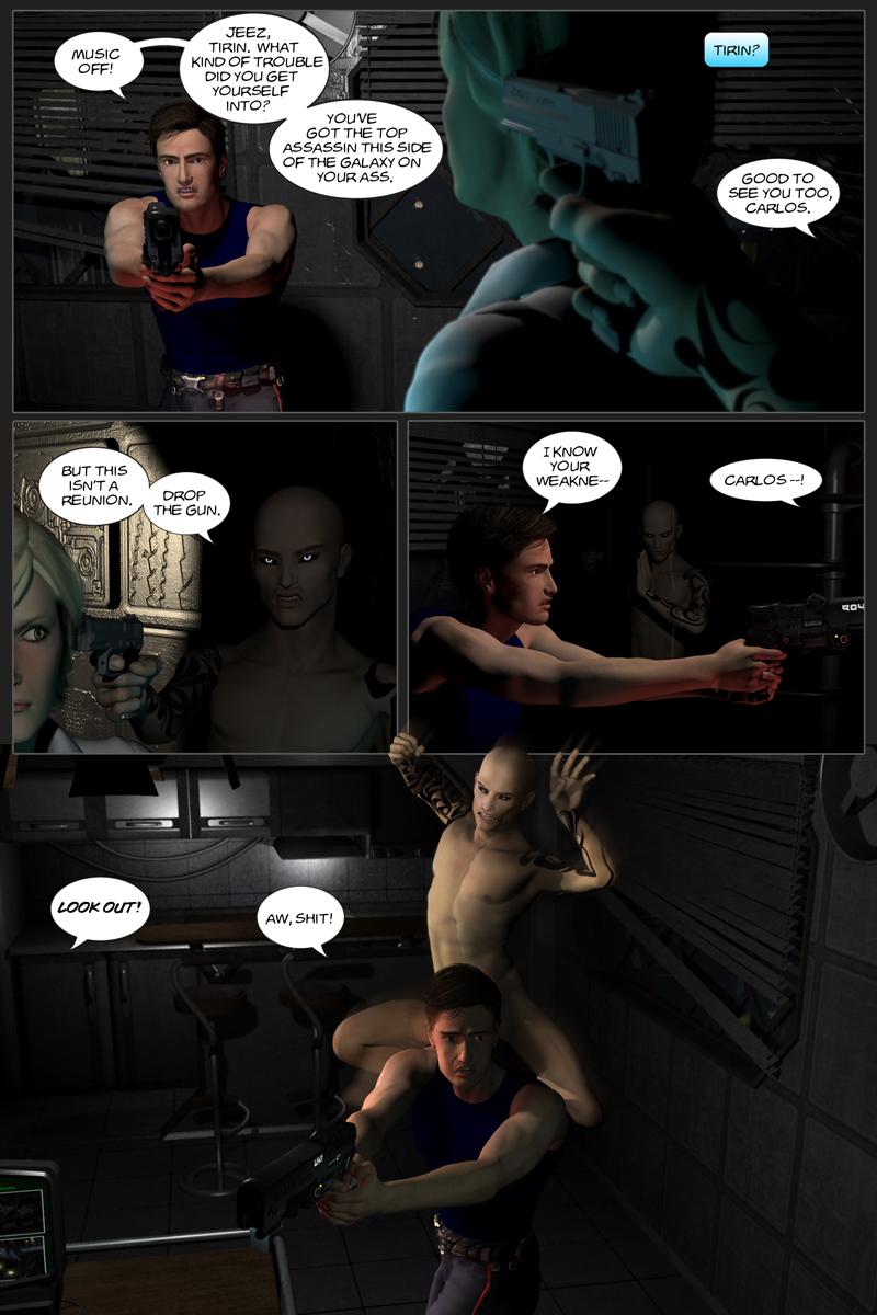 Chapter 6, page 22 – Carlos and Shadow standoff