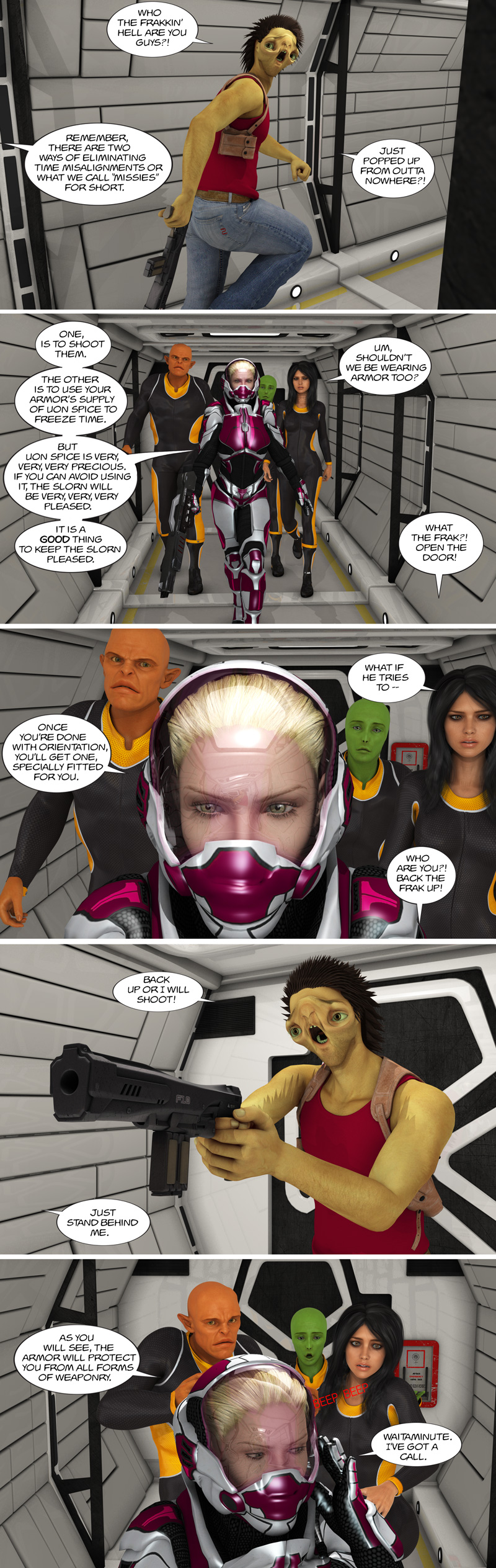 Chapter 11, page 43 – Tirin Time Enforcer mentoring a few recruits