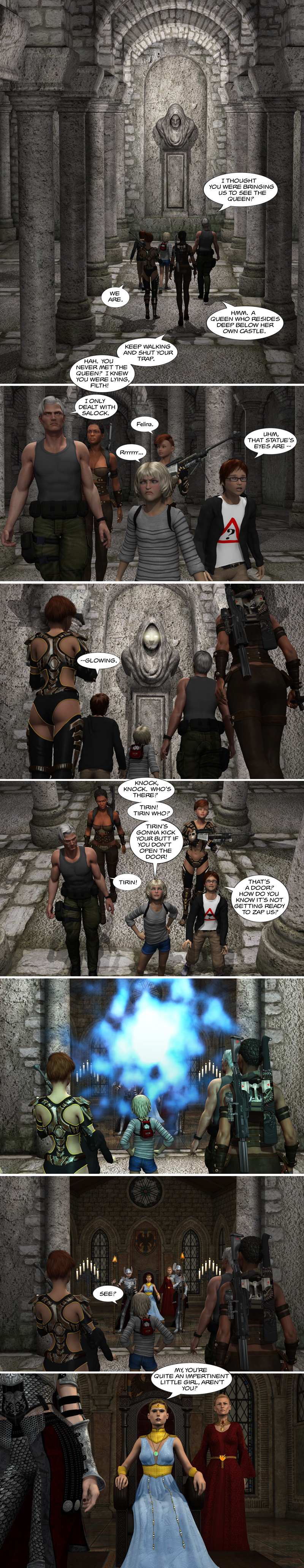 Chapter 12, page 14 – meet the Queen of Saronia