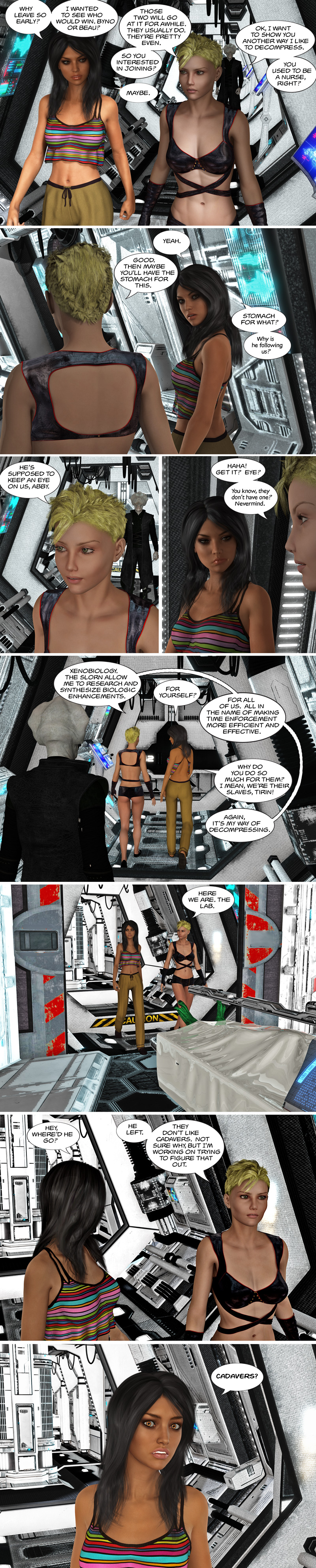 Chapter 12, page 18 – Tirin shows Abby around, including the cadavers