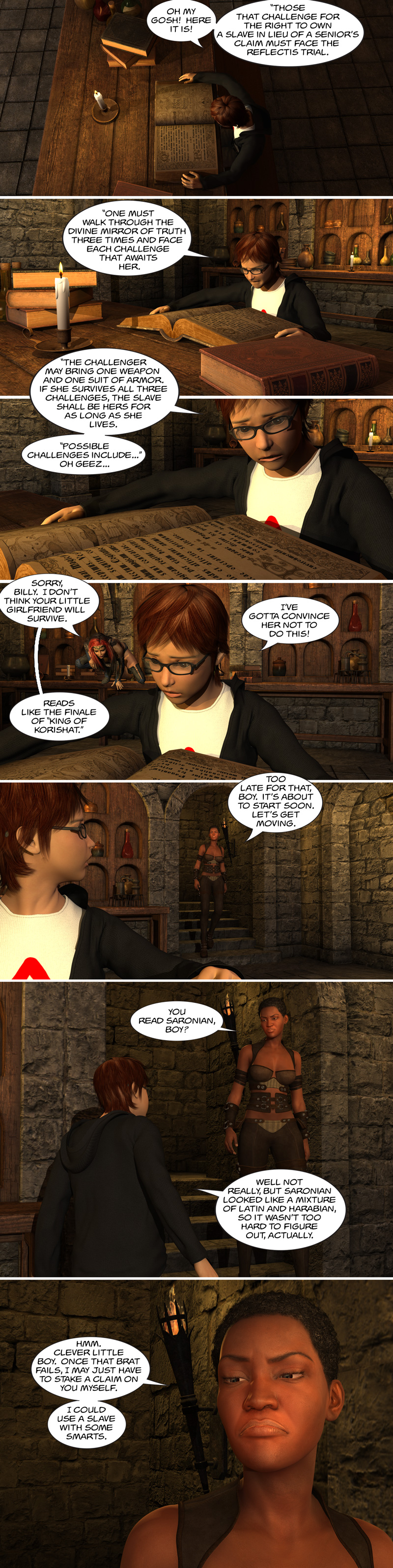 Chapter 12, page 20 – Billy studies up on the Reflectis Trial