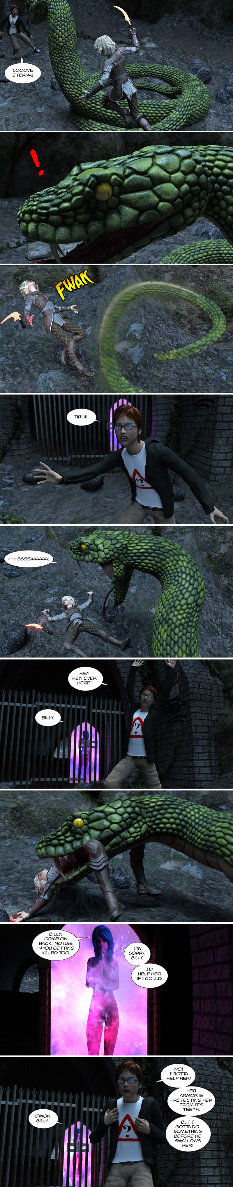 Chapter 13, page 6 – serpent battle