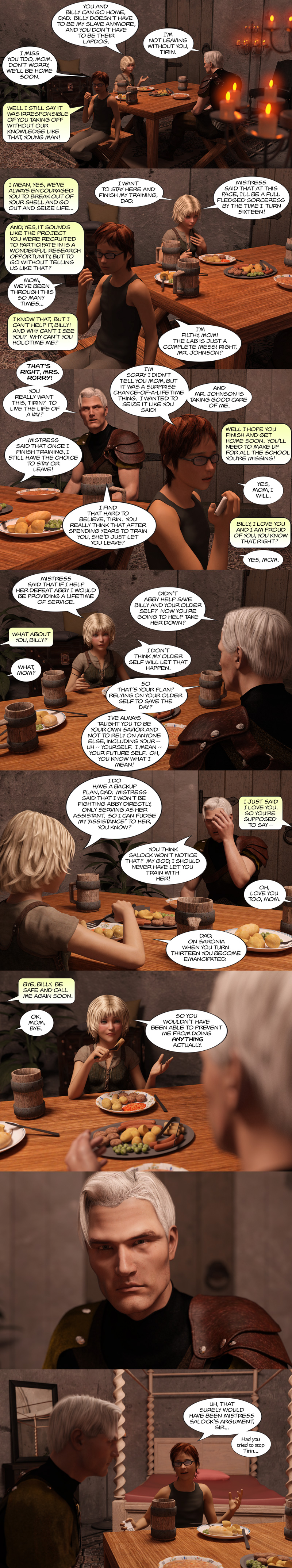 Chapter 16, page 7 – typical dinner at the Johnson household with guest, Billy.