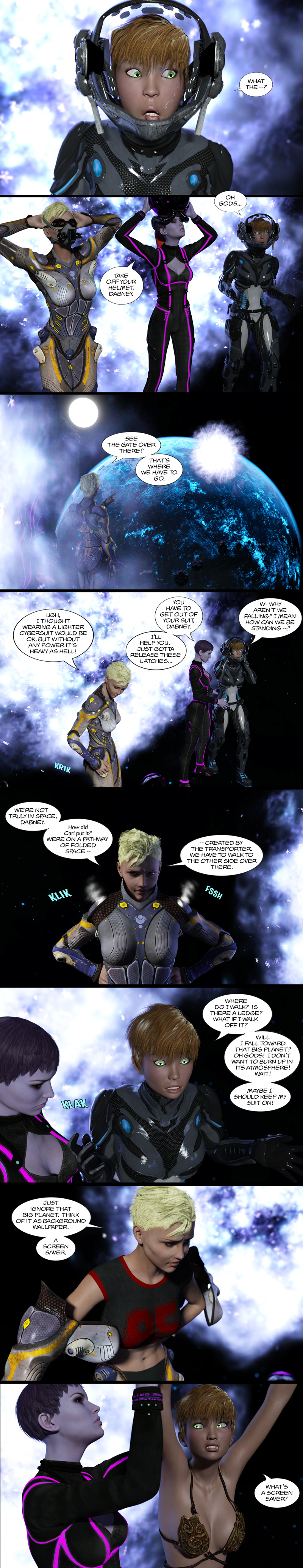 Chapter 14, page 9 – space walk and what's a screensaver?