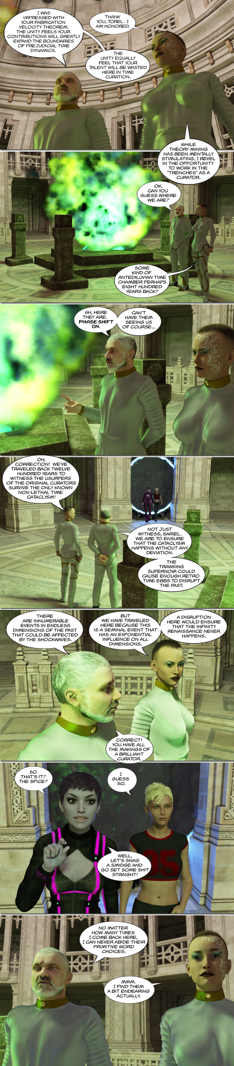 Chapter 14, page 23 – the Uon spice room and futuristic historians (Sariel)