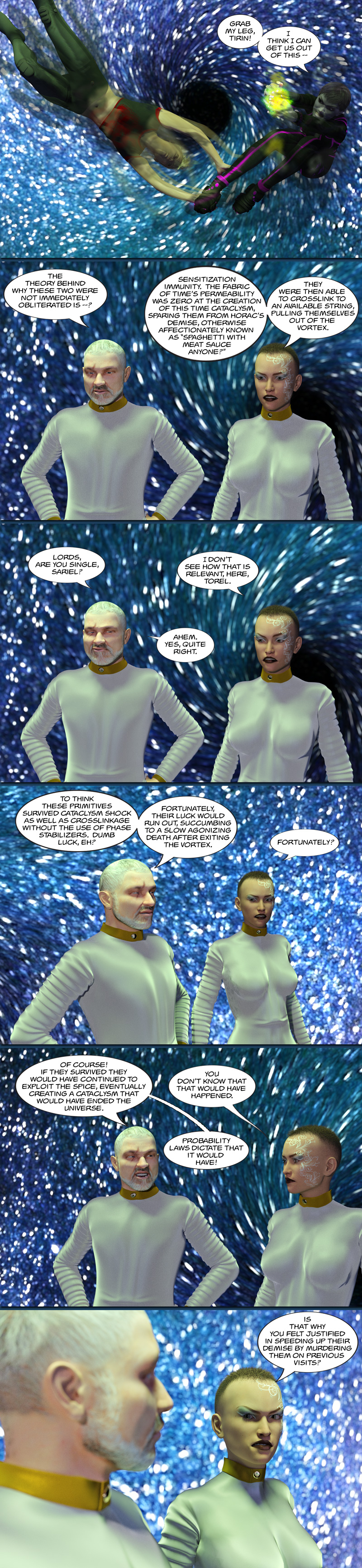 Chapter 14, page 26 – time vortex and accusations of treachery