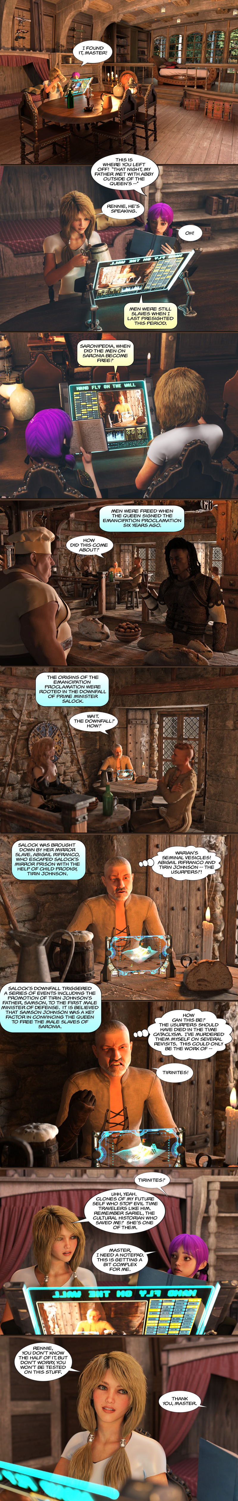 Chapter 18, page 3 – Torel works out why his timeline changed
